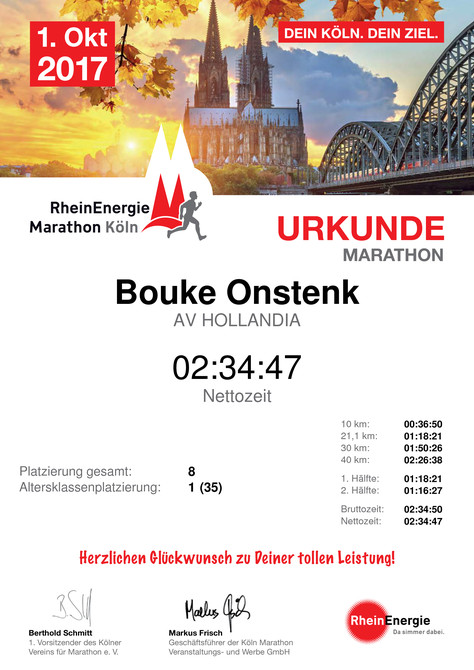 Bouke Onstenk 8e bij Marathon van Keulen